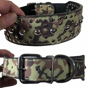 Camouflage Studded Dog Collar Wide Buckle